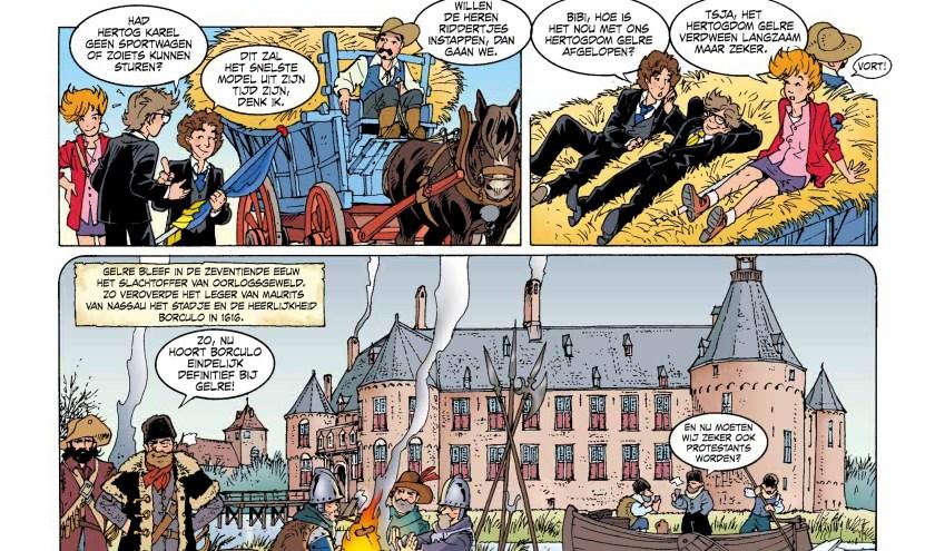 In het Gelderse stripverhaal zien we de verovering van Borculo door het leger van Maurits van Nassau in 1616.