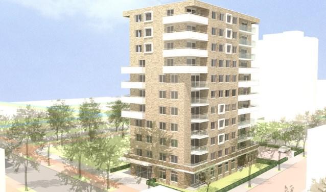 Zo gaat het appartementengebouw op de hoek van de Bouwlustlaan en de Wezelrade eruit zien.