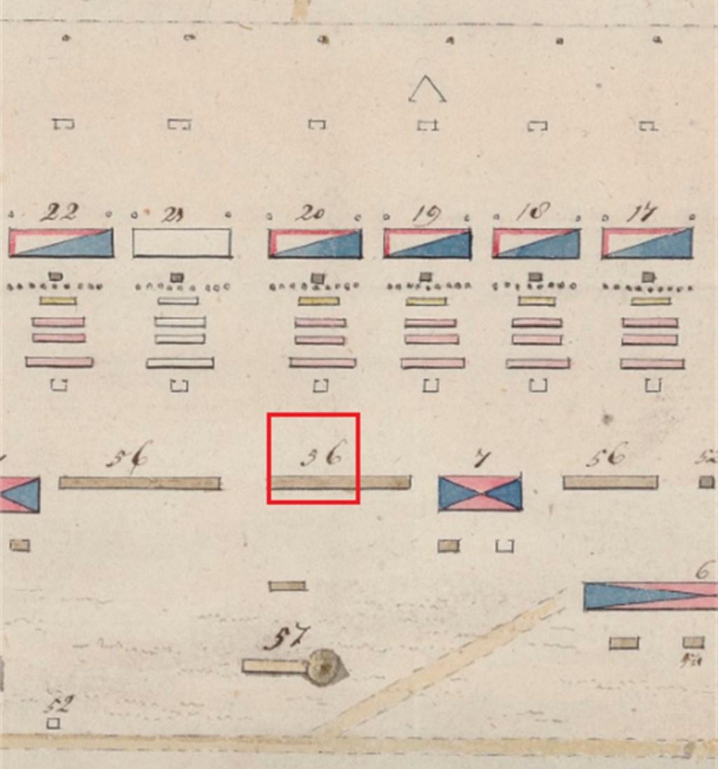 Uitsnede uit de Franse stafkaart van het kamp uit 1805. Het huidige opgravingsterrein is het gebied dat op deze kaart is aangegeven met nummer 56 (binnen het rode vierkant).  © Persgroep