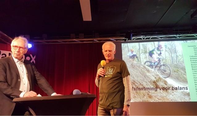 Tony Weggemans (rechts) vertelt over de MTB-route in Stadsbos 013, die afgelopen zaterdag officieel werd geopend (foto: Jasper Schoonhoven)