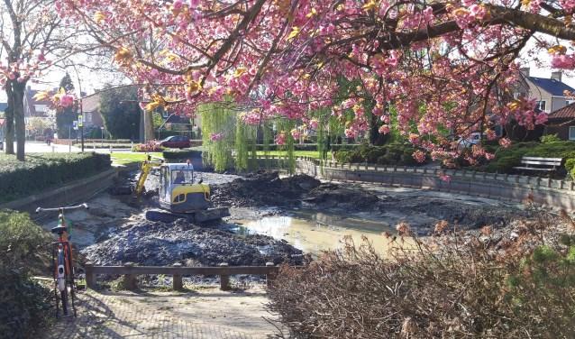 Een mini bulldozer heeft de hele vijver leeg geschept. (foto: Danny van der Kracht)