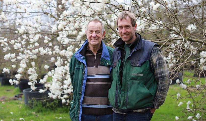 Wim en Alwin voor de bloeiende magnolia die klaar ligt voor vervoer. Op de achtergrond is de bovengrondse pootmethode te zien. (foto: Feikje Breimer)