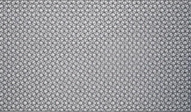 Drie visnetten en acrylverf. Het resultaat? Een paneel van 1,40 bij 2,80 meter met een hypnotiserend patroon.