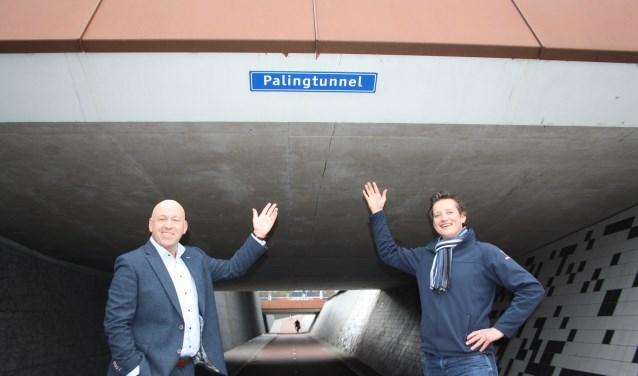 Adwin Ploeger en Peter van den Berg voor de Palingtunnel.