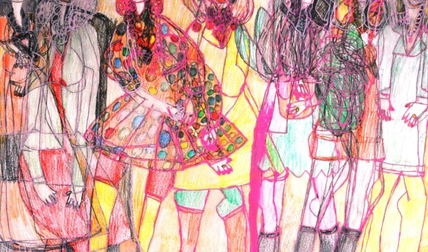 Een van de schilderijen van Annechien Karremans op de expositie bij ARTenZo Breda aan de Viveslaan. Deze vrolijke en kleurrijke expositie is heel de maand mei te zien op werkdagen tussen tien en drie uur.