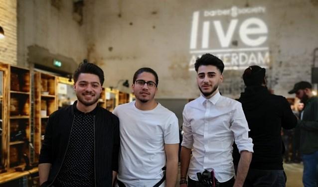 Masis Khachadorian, Bashar Mero en Taha Hamed de drie prijswinnaars van de barbierwedstrijd van ROC van Twente namen deel
