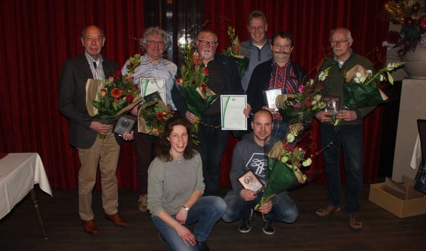 achterste rij C. Kleijer. tweede rij van links naar rechts. F.G. Davelaar, M.van Nieuwenhuizen, H. Panhuis, B. Reijersen, B. Grift. op de voorste rij. C. van Beek en E. Lubbertsen.