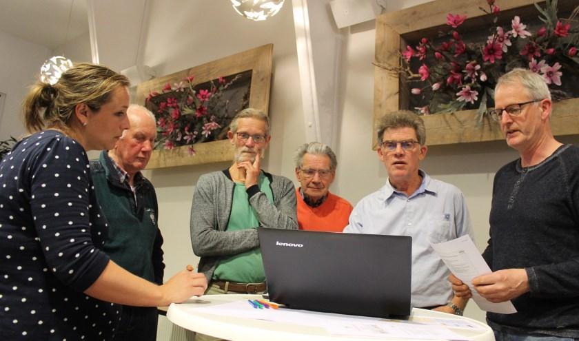 Tonnie Stoltenborg (derde van links): niet alleen daken, maar ook wanden van bedrijven 'behangen' met zonnepanelen.