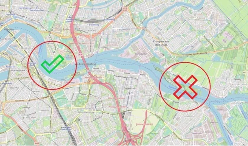 Veel bewoners willen geen oeververbinding die in Ridderkerk uitkomt. (Foto: petitie.nl)
