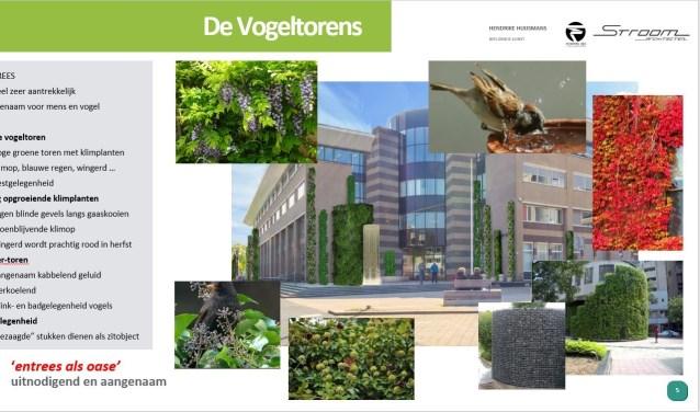De bedoeling van het winnende ontwerp van Hendrike Huijsmans beeldende kunst, Foppe 3D en STROOM architecten is, dat er groene torens gebouwd worden die een geschikte leefomgeving voor de vogels bieden.