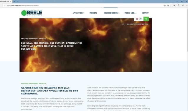 Screenshot nieuwe website Beele Engineering