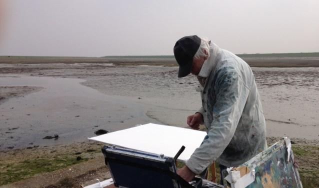 Kunstenaar Johan Meeske koos al vroeg voor het werken met waterverf. FOTO: PR