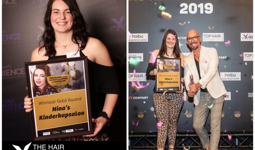 Nina Verbaan van Nina's Kinderkapsalon met haar award én met Maik de Boer. Foto: Hair Experience