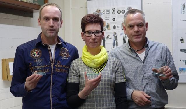 De winnaars van de Open klasse: vlnr Raymond in de Nieuwenkamp, Rudith in de Nieuwenkamp en Jeroen in de Nieuwenkamp.