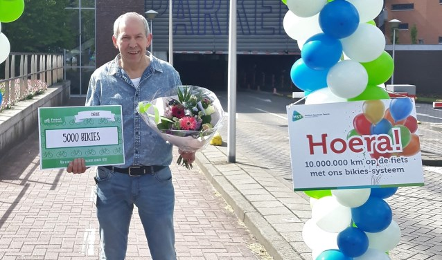 MST'er Louis Wesselink heeft onlangs de tienmiljoenste kilometer gefietst met het MST-fietsbeloningssysteem.