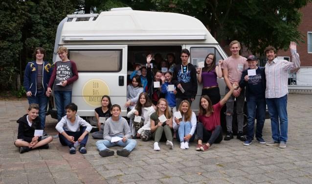 Bezoek van Eco Bus America aan een school in Zuid-Limburg. (Foto: Guillermo Zocca)