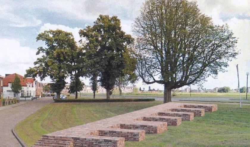 Het plan voor de kasteelmuur: 27 meter lang en 50 centimeter hoog en komt in een gravelbed