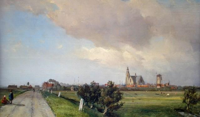 J.B. Jongkind, olieverf, 'Vlaardingsedijk met zicht op Maassluis'.