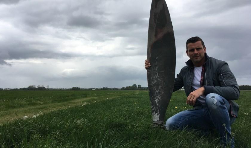 Ook in de regio Ermelo heeft Stibo herinneringen en voorwerpen uit de oorlogstijd verzameld. Bijzonder voorbeeld hiervan is een propellerblad. (eigen foto)