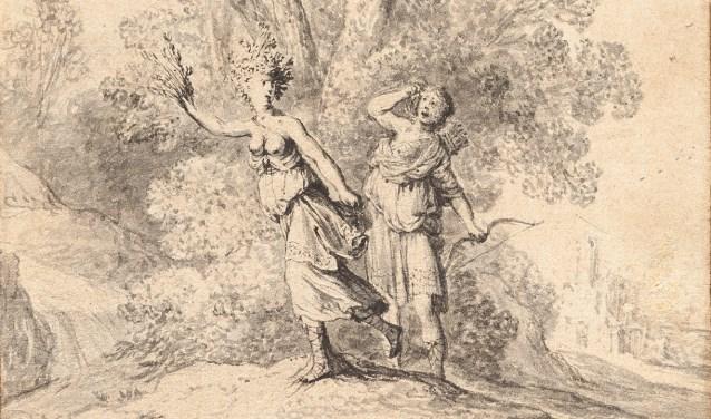 Uitsnede van de tekening van Deventer kunstschilder Breenbergh.Bartholomeus Breenbergh, Apollo en Daphne, 1640, gewassen pentekening (c. 15 x 10 cm). Collectie Museum De Waag Deventer