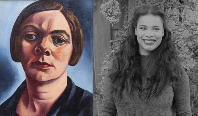 Links: Charley Toorop, Zelfportret Villefranche, olieverf op doek,1934. Collectie Museum Arnhem. Rechts: Kimberly Molina