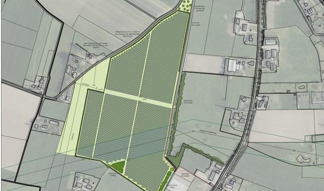 Zonnepark Zevenaar staat gepland tussen de Leuffenseweg, Pannerdenseweg, Ooijsebrug en Oliemolen in Ooy. (illustratie: Tomorrow Engery)