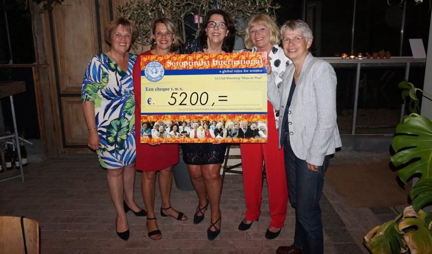 Mevrouw Lenie Scholten (rechts), voorzitter van de stichting Wereldvrouwenhuis, neemt de cheque in ontvangst.