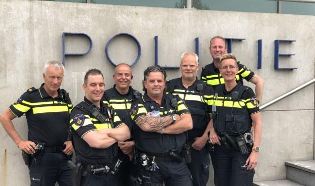 Van links naar rechts: Ton Gruiters, Maik Plasman, Piet Tijssen, Tim Bakema, Kees Verheij, Gerco Gijsbers (achter), Margreet de Goeij. Eigen foto