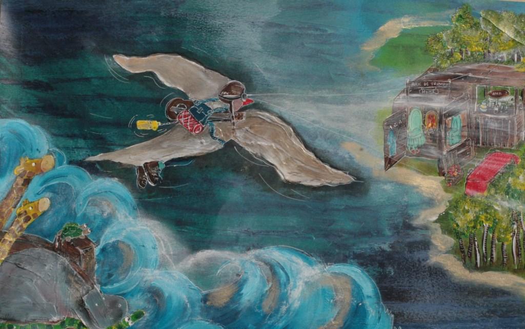 Schilderij Nicole Schiffers duif na zondvloed.