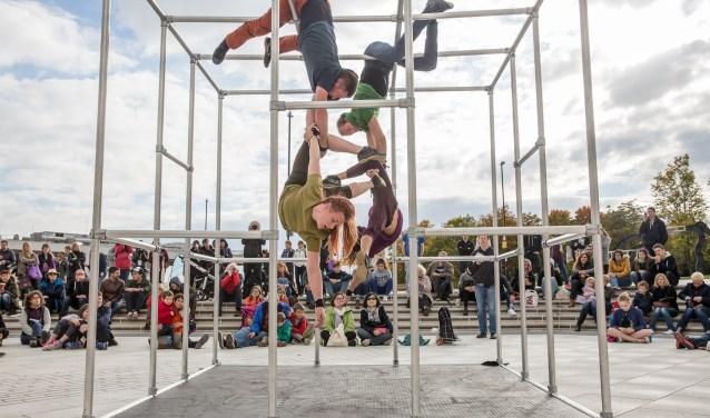 In Captive van Motionhouse onderzoeken vier dansers in een acrobatische dans hoe het is gevangen te zitten in een grote kooi. FOTO: ANDY GREY
