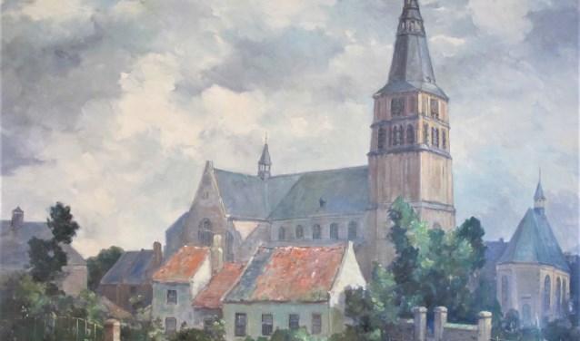 Sint-Petrus Basiliek en Protestantse Kerk, olieverf schilderij van Pierre Janssen.