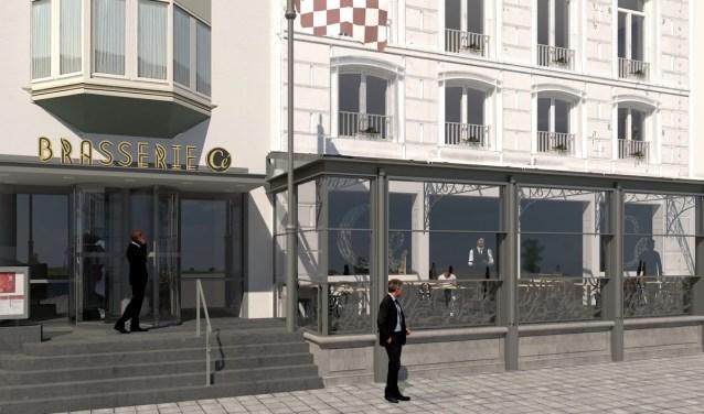De entree van Brasserie Cé kan niet achterblijven en krijgt ook een facelift. Daar worden de luifel en het tourniquet vervangen. De brasserie blijft tijdens de verbouwing gewoon open voor gasten.