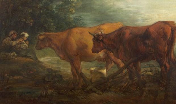 Thomas Gainsborough | Landschap met twee koeien bij een herder en melkmeid | ca. 1786 |olieverf op doek.