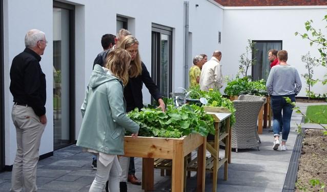 Bezoekers bij moestuinbakken in de binnentuin van de nieuwbouw van Avondlicht