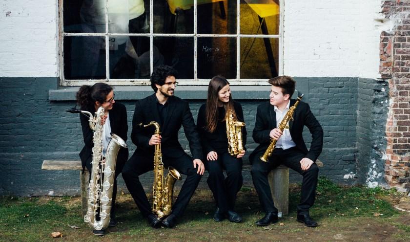 Het Maat Saxofoonkwartet verzorgt zaterdag 3 augustus twee mini-concerten bij het Boerderijmuseum. (eigen foto)