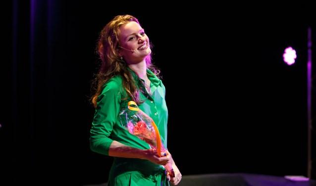 Sofie de Bruijn na afloop van de première 'Puberteit'. Foto Leo Ernst