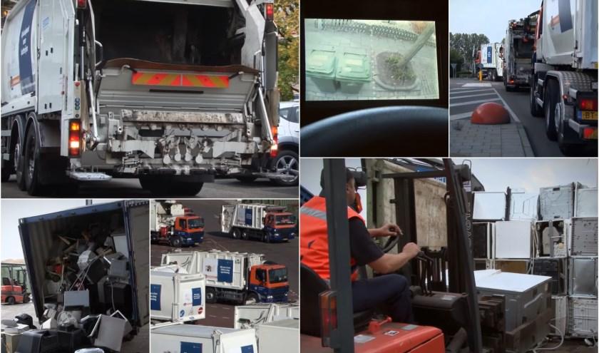 Beelden uit een bedrijfsvideo van de Afvalstoffendienst geven een goed beeld van de brede functie die de reinigingsdienst heeft. De video is te zien op YouTube: 'Afvalstoffendienst in 30 seconden'.