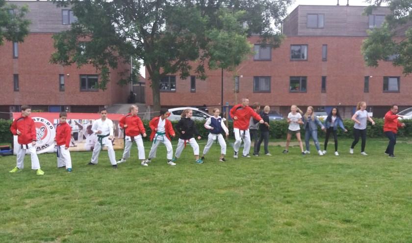 leden Karate-do Smaal in actie samen met andere kinderen