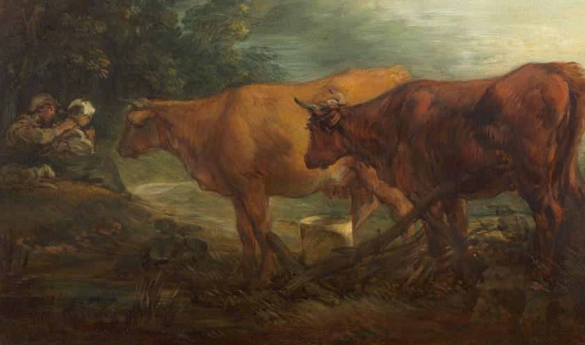 Thomas Gainsborough; 'Landschap met twee koeien bij een herder en melkmeid', ca. 1786, olieverf op doek.