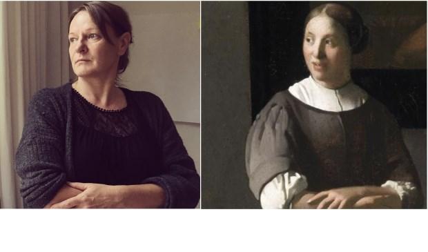 Links op de foto Gitta Fleuren,  Rechts op de foto: detail uit schilderij van Vermeer. fotograaf Kim Schonewille,