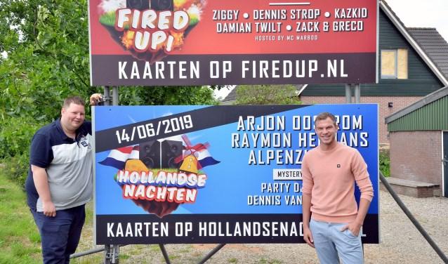 Kevin van Engelen (l) en Rick Vianen zijn medeoprichters van de Stichting Evenementen Montfoort. Foto: Paul van den Dungen