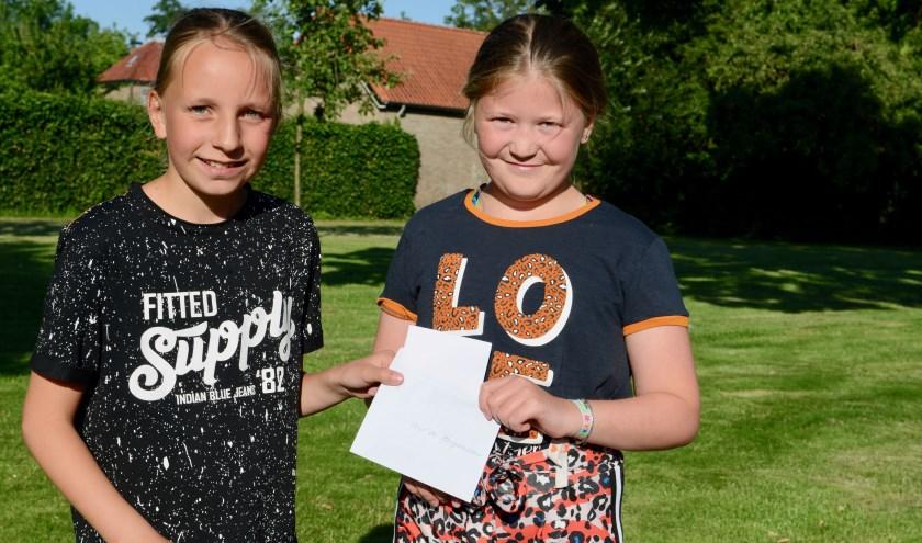 Mette (l) en Véline tonen het afschrift van de brief die ze naar de burgemeester hebben gestuurd.
