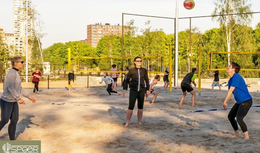 Er zijn meerdere sportieve activiteiten in het park waaraan je kunt deelnemen. Zoals beachvolleybal bij het beachveld. Foto: Chris Oomes