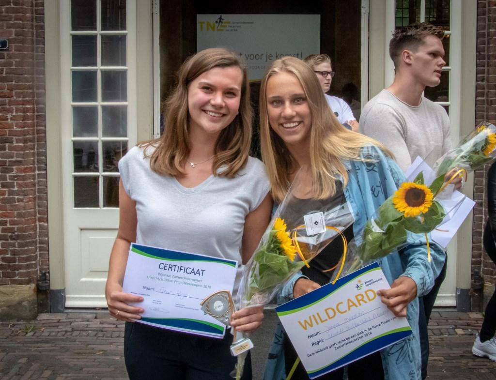 Fleur Huijs uit Utrecht was de regionale en landelijke winnaar van ZomerOndernemer 2018. Jonna Meesters uit Breukelen won de wildcard met haar bedrijf Escape it  © Persgroep