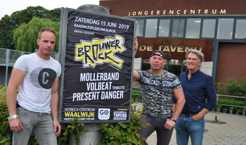Kevin de Brouwer (links), Thijs de Jong (midden) en Erik van Ginneken (rechts) kijken uit naar de eerste editie van BrouwerRock op 15 juni.