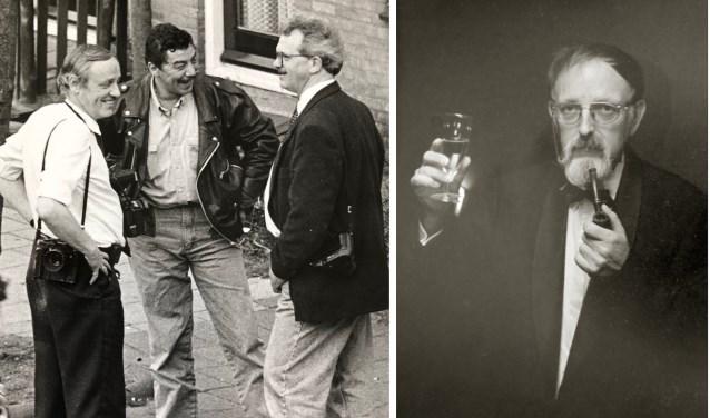 Foto links: Joop Dorst (l) in gesprek met rechercheur Leo Zwart en collega Martin Droog (r). Foto rechts: Pieter G.den Broeder, onafscheidelijk met zijn pijp.