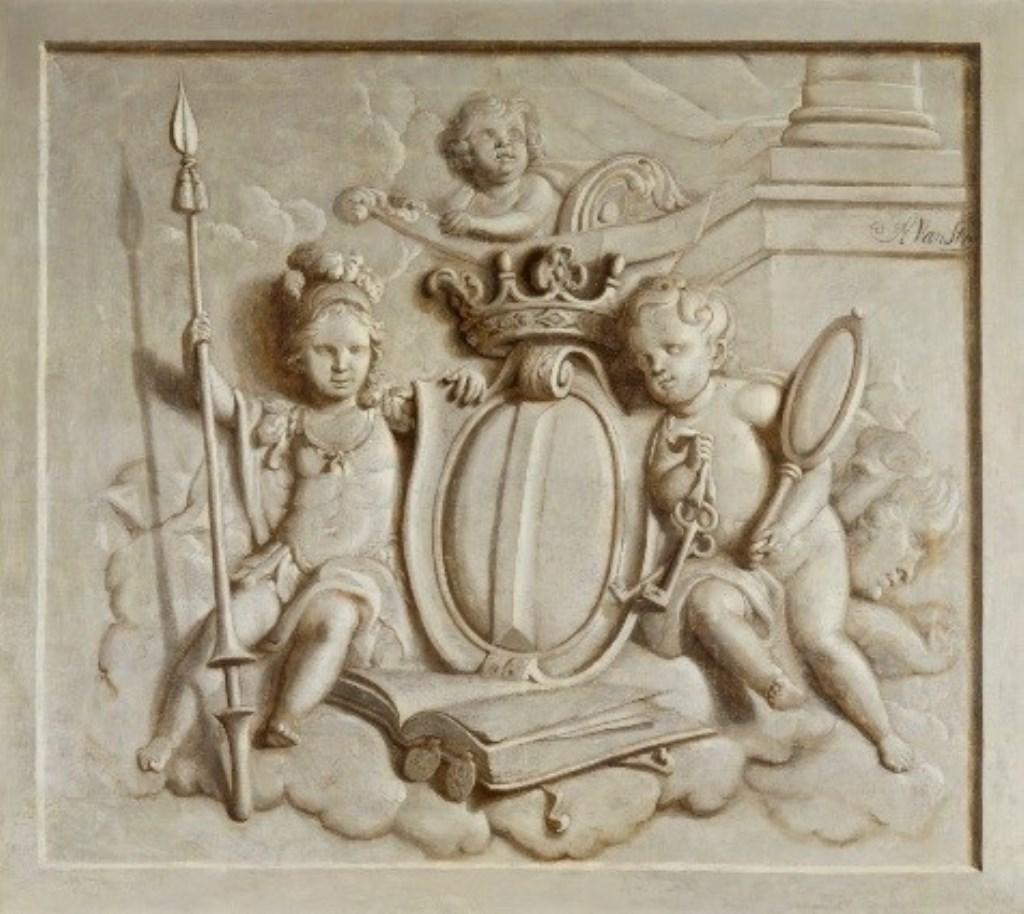 Abraham van Strij, Bovendeurstuk met allegorie op de stad Dordrecht, 1824, doek, Dordrechts Museum (schenking erven Van Strij)  © Persgroep