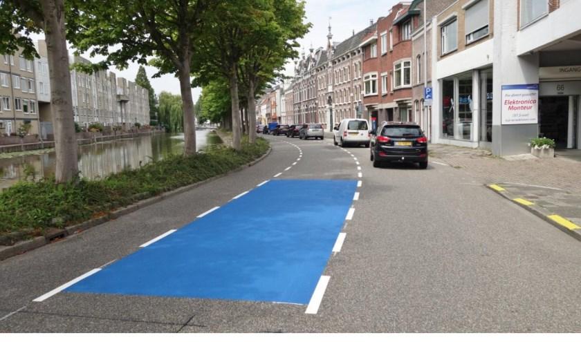 Blauwe vlakken maken singel optisch veiliger. Foto: Raymond Aarsman via Twitter