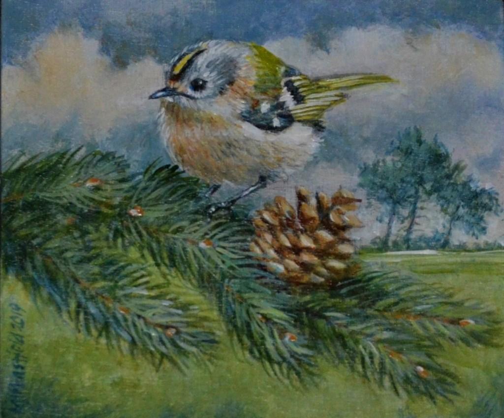 Nederlands kleinste vogeltje, het goudhaantje, komt groot(s) in beeld op een van de schilderijen van Michael Mansfield.  © Persgroep