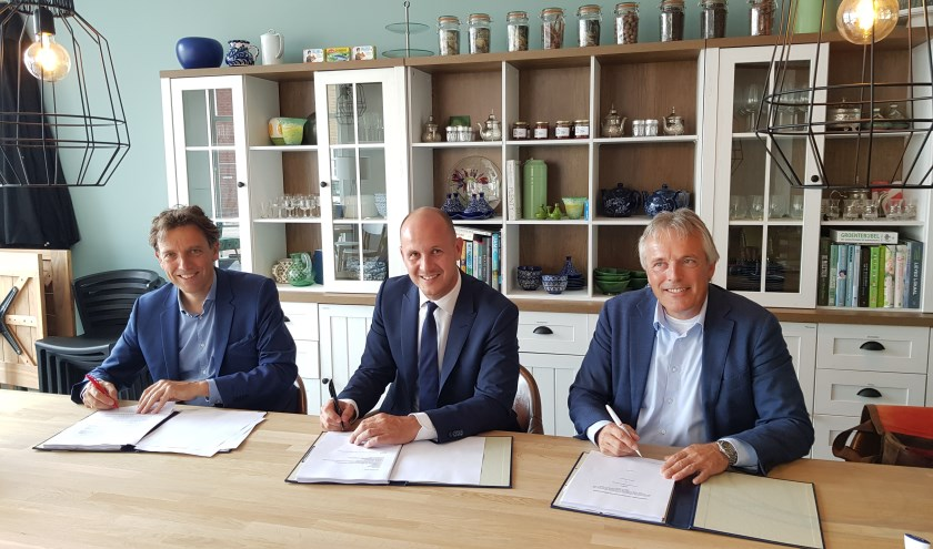 de overeenkomst werd in de woonwinkel van Hoef en Haag ondertekend door Marien Kleinjan (adjunct-directeur AM), Chrétien van Essen (BPD, projectdirecteur Hoef en Haag C.V.) en wethouder Huib Zevenhuizen. Eigen foto